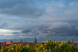 Berlin, summer, distant view to the east, sunset