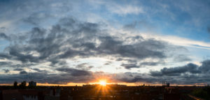 Panorama, Berlin, summer, distant view towards the northwest, sunset