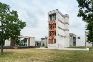 Duisburg, inner harbor, garden of remembrance, Ludwigsturm