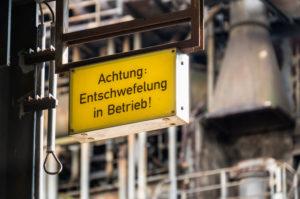 Duisburg, Landschaftspark Nord, former iron and steel works, warning sign, desulphurisation