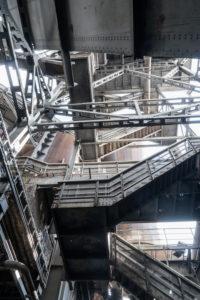 Duisburg, Landschaftspark Nord, former iron and steel works, looking up
