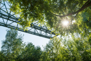 "Duisburg, North Landscape Park, former ironworks, ""crocodile"", sun rays"