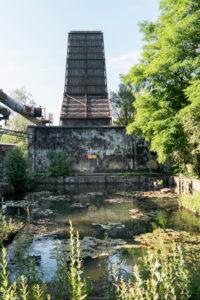 Duisburg, Landschaftspark Nord, ehemaliges Hüttenwerk, Doppelkühlwerk und Kühlwasserbecken