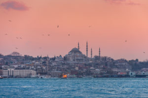 Turkey, Istanbul, Üsküdar, view from Asia to Europe, blue mosque