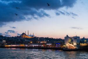 Turkey, Istanbul, Bosphorus, ferry Üsküdar-Eminönü, restaurants on the Galata Bridge