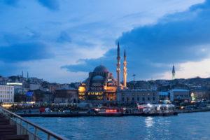 Turkey, Istanbul, Bosporus, ferry Üsküdar-Eminönü (from Asia to Europe), blue hour