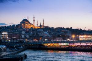 Türkei, Istanbul, Bosporus, Fähre Üsküdar-Eminönü, Restaurants an der Galatabrücke