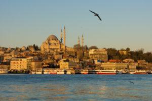 Türkei, Istanbul, Bosporus, Karaköy, Morgenstimmung, Blick zur Süleyman-Moschee