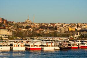 Turkey, Istanbul, Bosporus, Karaköy, morning mood, view to the Suleyman mosque, ferry port