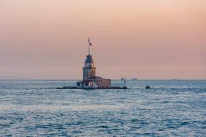 Türkei, Istanbul, Bosporus, Mädcheninsel, Leanderturm, Abendlicht