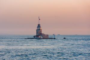 Turkey, Istanbul, Bosphorus, Girls Island, Maiden's Tower, evening light