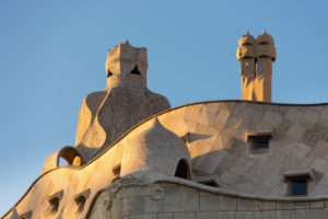 Barcelona, Casa Milá, La Pedrera, Antoni Gaudi, architectural monument, roof construction with ventilation shafts