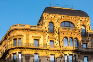 Barcelona, Via Laietana, facade in the morning light