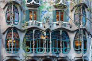 Barcelona, Casa Battlo, Paseo de Gracia, architect Antoni Gaudi, window