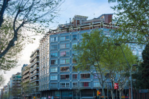 Barcelona, Barrio Eixample, facades in the morning light