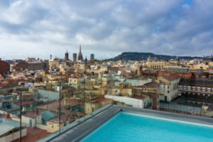 Barcelona, roof terrace, pool, city view, morning light