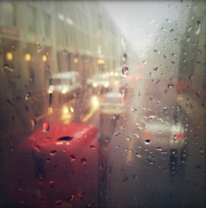 window, raindrops, street, cars