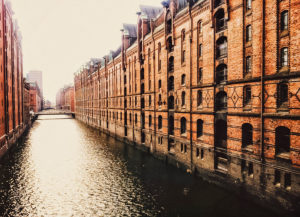 Hamburg, Germany, Speicherstadt, waterway