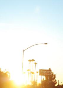 Sonnenuntergang, Sonnenaufgang, Gegenlicht, Straße, Palmen, Stadtleben
