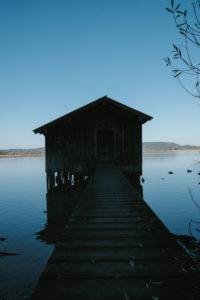 Bayern, Landschaft, Natur, Berge, Wasser, See, Kochelsee, Bootshaus