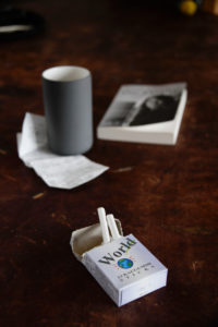 Cigarettes on wooden table