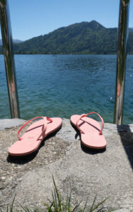 Flip flops on the lake
