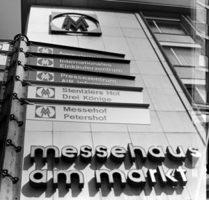 Autumn fair 1968 in Leipzig, notice board at the fair house on the market in Petersstrasse for fair visitors