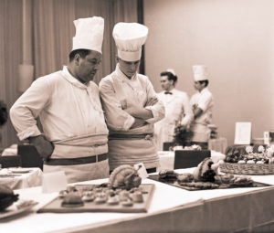 Gastronomy examination in an Interhotel in Leipzig, members of the jury examine the presentation of the prepared dishes and dishes
