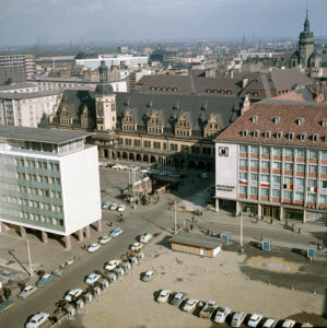 View from the tower of the Thomaskirche to the Leipzig city center on the market, the old town hall, the new trade fair office and the exhibition hall on the market, on the right the Nikolaikirche