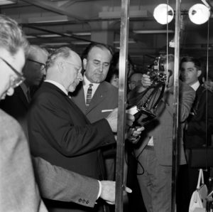 Chairman of the State Council of the GDR Walter Ulbricht on a tour of the fair at the 1966 Autumn Fair in Leipzig
