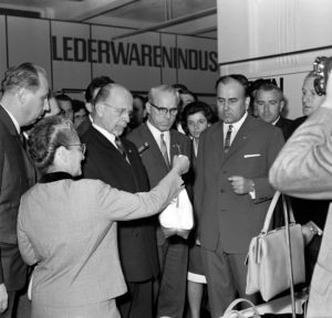 State Council Chairman of the GDR Walter Ulbricht with Lotte Ulbrich, Willi Stoph and other officials on a tour of the fair at the 1966 Autumn Fair in Leipzig