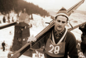 GDR ski jumping idol Helmut Recknagel on the ski jump in Oberwiesenthal am Fichtelberg, won the four-hill tour three times