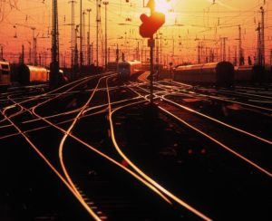 Germany, Hessen, Frankfurt on Main, central station, railway track, sunset,