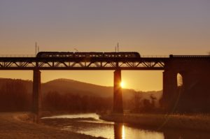 River, bridge, train, sunset,