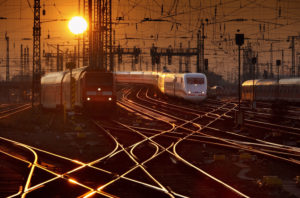 Tracks, trains, evening,