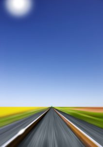 Train race towards a green light on the horizon, blue sky, sun, perspective of the engineer, Composing,