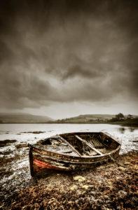 England, Scotland, Isle of Skye, Loch Harport, Drynoch, boat, shore, overcast sky, sepia, digital processed