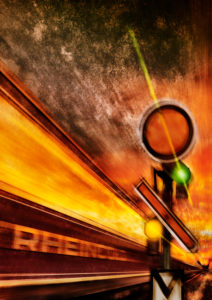 Train, Passenger Cars, writing, Sky, Evening Scene, Blurred Motion, Signal, [M], Graphic, Rail Art