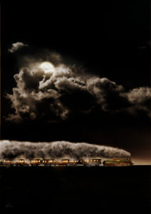 Steam locomotive, train, night, moon, clouds, [M], retouched