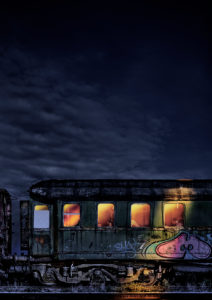 Wagon, desolate, graffiti, night, illuminated from inside, interior devastated, photography, [M], retouched, RailArt