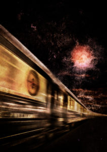 Night train, dusk, motion blur, [M], retouched, graphics, RailArt