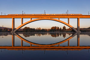 Train, bridge, lake, mirroring, morning light