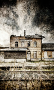 Railway station, track, station, dilapidated, closed, digitally processed, RailArt
