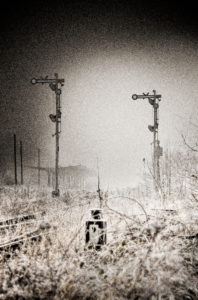 Signals, tracks, switch, turn signal, scrub, wild, fog, digitally processed, RailArt