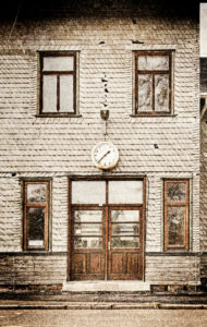 Wall, slated, entrance, window, broken clock, building, digitally processed, RailArt