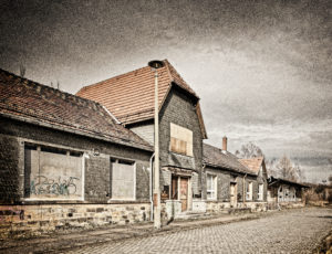 Station building, street side, degenerate, ailing, slated, digitally processed, ghost train, RailArt