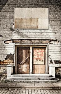 Entrance, Graffity, wall, ailing, slated, digitally processed, ghost train, RailArt