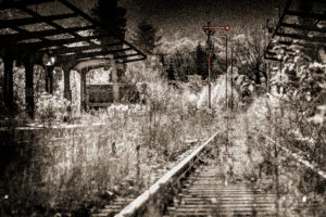 Signals, tracks, overgrown, scrub, wild, platform, digitally processed, backlight, Color Key, RailArt