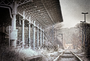Track, platform, signal, scrub, wild, digitally edited, RailArt