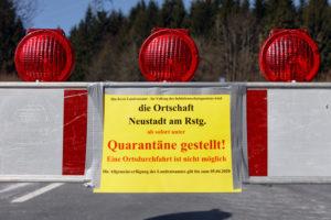 Germany, Thuringia, Ilmkreis, Großbreitenbach, Neustadt / Rnstg, Hohe Tanne, sign, roadblock